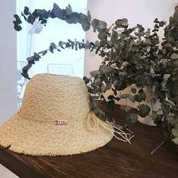 $enCountryForm.capitalKeyWord Australia - Loose Edge Paper Straw Elegant Lady Fashion Hat Baby Summer Vogue Crochet Bucket Hat for Woman EPU-MH1847