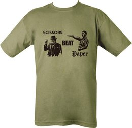 $enCountryForm.capitalKeyWord Canada - Military Printed Scissors Beat Paper T Shirt Green Casual Funny free shipping Unisex tee gift