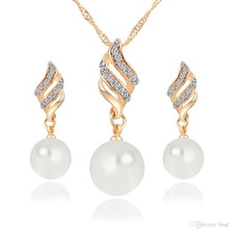 9mm Pearl Size NZ - New Alloy Pearl Diamond Necklaces Earrings Jewelry Set Gold White 10pcs Size 35*9mm 41*11mm Weight 13g