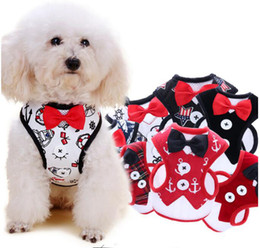 led dog collar chest 2019 - Dog leashes vest 2 piece set small dog Teddy vest style bow evening dress chest strap lead pet supplies