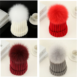 grey bobble hat Australia - Fashion Women Hat Winter 15cm Fur Ball Pom Pom Knit Beanie Ski Cap Bobble