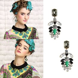 Crystals Souvenir Australia - Retro Classic Style Gold Plated Green Black White Artificial Crystal Gemstone Dangle Pendant Stud Earrings for Women Lady Girl Souvenir