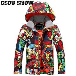 Discount snowboard ski jackets - 2018 Gsou Snow Kids Ski Jacket Windproof Waterproof Outdoor Sport Wear Skiing Snowboard Thermal Boys Children Snowboard