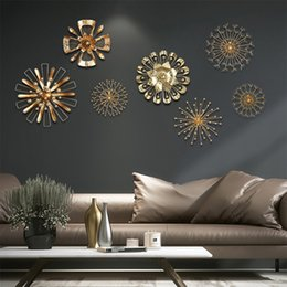 Large Metal Wall Art Australia - Modern Blossom Abstract Metal Wall Art Home Decor Iron Gold Wall Sticker Home Decorative