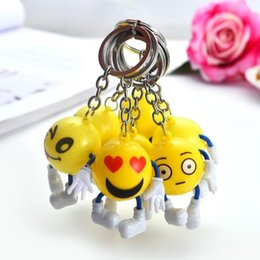 Discount face dolls - Emoji Keychains Smiley Small Doll Pendant Cartoon Plastic Key Ring Yellow Expression Toy Christmas Gift Pendant Bag Acce