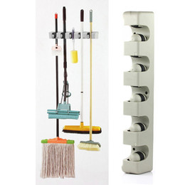 Wall Mount Storage Organizer Canada - ABS Wall Mounted Kitchen Organizer 5 Position Wall Shelf Storage Holder for Mop Brush Broom Mops Hanger Home Organizer