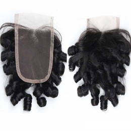 $enCountryForm.capitalKeyWord UK - Funmi Hair Lace Closure Aunty Curly Loose Wave Lace Closure Bouncy Curly Peruvian Virgin Human Hair 4x4 Lace Closure