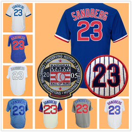Button downs online shopping - Ryne Sandberg Jersey with Hall Of Fame Patch Home Away Button Down White Blue Navy Red Cream Grey All Embroidery