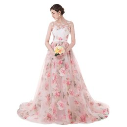 Discount summer flowers - In Stock Cheap Appliques Prom Dress 2019 Print Flowers Organza Ball Gown Evening Dresses Rose Flowers Lace Formal Gowns
