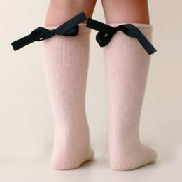girls knee high socks bows 2019 - Cute Baby Kids Long Booties Bow Knee High Socks Knee High Socks with Bows Princess Girls discount girls knee high socks