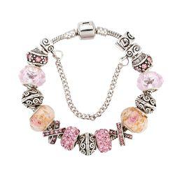 Christmas Pandora Bracelet Australia - 17 18 19 20 21cm pandora bracelet fashion silver charm bracelets for women pink crystal beads diy snap jewelry drop shipping