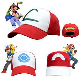 Cosplay Characters NZ - Anime Pocket Pikachu Baseball Cap Monster Cosplay Costumes Hats Cartoon Cap Ash Ketchum Outdoor Sun Hat Cheap