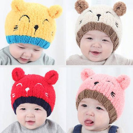kids bear hat NZ - 0-2 Years Old Cute Kids Baby Toddler Winter Warm Knit Bear Hat Acrylic and cotton Crochet Beanie Cap