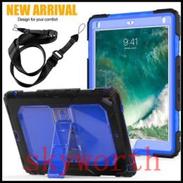 Discount ipad mini clear silicone case - Kickstand Hybrid Silicone Clear Cover Heavy Duty Case Detachable Straps For iPad Pro 9.7 10.5 2017 Air Mini 1 2 3
