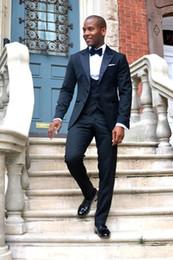 $enCountryForm.capitalKeyWord NZ - 2018 Custom Made Formal Dress Peak Lapel Groomsmen Men Suits For Wedding Groom Tuxedos Bridegroom (Jacket+Pants+Vest+Bow)