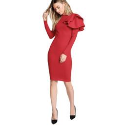 0d810be91b9 Bonne qualité Automne Femmes Robe À Manches Longues O Cou Sexy Moulante À  Volants Rouge Slim Maigre Élégant Parti Clubwear Mini Robe Robe robes