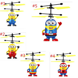 Discount children toys drones - DHL free shipping RC helicopter Drone kids toys Flying Ball Aircraft Led Flashing Light Up Toy Induction Electric sensor