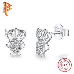 8140aedf6 BELAWANG For Women And Children Lovely Owl Stud Earrings With CZ 925  Sterling Silver Animal Earrings Summer Fashion Jewelry