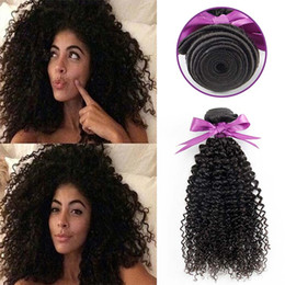 Afro Hair Extensions Bundles Australia - Brazilian Afro Kinky Curly Hair Extension Human Hair Bundles Weave 3 bundles with 4*4 lace closure kinky curly deep wave hair entension