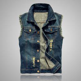 $enCountryForm.capitalKeyWord Australia - 2018 new Denim vest cowboy men waistcoat cotton sleeveless jacket short style Asian size S to 6XL
