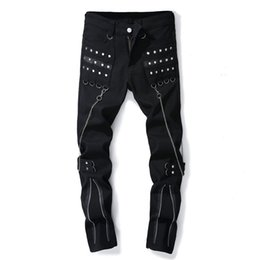 mens flare pants NZ - Trendy designer black mens flared jeans stretch multi zipper chain street wear man casual pants with rivets slim fit trousers
