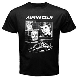 Wholesale vintage army patches for sale - Group buy Airwolf chopper patch santini hawke s tv vintage series classic T Shirt Black Mens fashion Brand T Shirt O Neck cotton T Sh