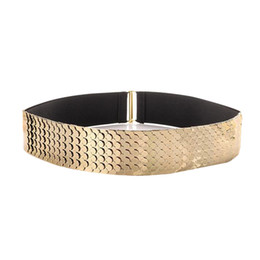 $enCountryForm.capitalKeyWord UK - Gold Silver Wide Elastic Waistband Personality Punk Patchwork Metal Scales Belt for Women Fashion Dress Metal Belt