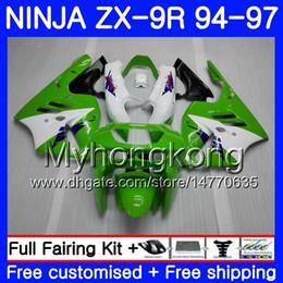 1994 Kawasaki Fairing Kits NZ - Body green white top For KAWASAKI NINJA ZX900 ZX 9R 1994 1995 1996 1997 221HM.38 ZX 9 R 900 900CC ZX-9R 94 97 ZX9R 94 95 96 97 Fairing kit