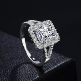 Womens Gold Filled Rings Australia - Luxury Fashion Womens Real platinum White Gold plated square CZ Diamond Rings Valentine's Day engagement Crystal Silver Wedding RING