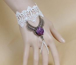 rose lace white Australia - free shipping Vintage gothic punk style white lace rose bracelet band ring integrated bracelet wrist band delicate and elegant