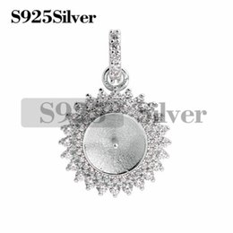 $enCountryForm.capitalKeyWord NZ - Sparkling Pendant Pearl Mounts 925 Sterling Silver Two Layer Zircons Surrounded Best Gift DIY 5 Pieces