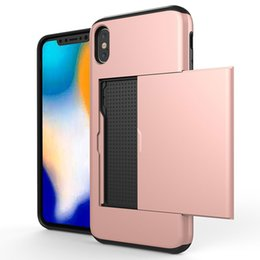 iphone hard box case Australia - Wallet Card Pocket Armor Case For Iphone XS XR XS MAX ID Card Slot Hard PC+TPU Card Box Slot Shockproof Hybrid Cover