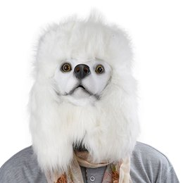 Chinese  Hanzi_masks Samoye white Poodle Head dog Mask Adult Realistic Animal Latex Mask Halloween Cosplay Props Party Fancy Dress Toys manufacturers