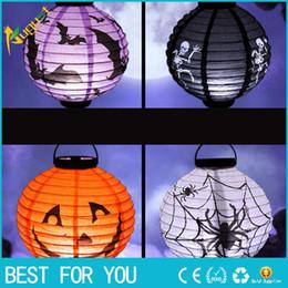 Halloween Decor Skeleton Australia - Halloween Party Decorations Scary Paper Lanterns LED Skeletons Hanging Round Lantern for Party Home Decor