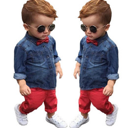 Wholesale New baby boys long sleeve suit soft denim full length sleeve shirt top red full length set baby clothing set ropa de bebe T