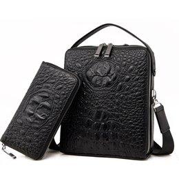 alligator wallet men black 2019 - 2018 NEW Vertical high quality leather men bag business casual alligator shoulder bag Messenger odile with wallet cheap