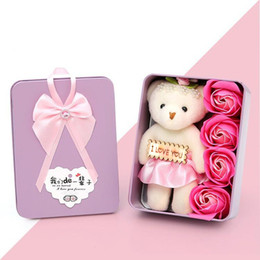 $enCountryForm.capitalKeyWord Canada - 4 Scented Rose Soap Flower With Cartoon Plush Bear Bouquet For Wedding Valentines Day Christmas Gift Decorations Flowers Colorful 5 5sm B