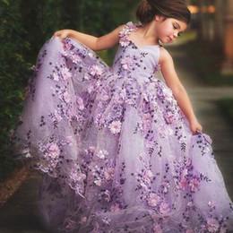 2138bc20b Fairytale Purple Spaghetti Flower Girls Dresses Handmade Flowers Tulle  Organza Ball Gown V Neck Little Girls Wedding Dress Pageant Dress