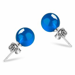 d46a91d14 Stud Earrings For Women 6mm Blue & White Chalcedony S925 Sterling Silver  Classic Fine Jewelry Bridal Wedding Bijouterie Brincos