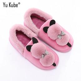 1d9c803d77cc Yu Kube Animal Winter Fur Slippers 2018 New Warm cotton Shoes Women Cartoon  Indoor Bedroom Lovers Floor House Slippers