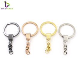 Discount rose keyrings - 20PCS metal alloy round key chain Silver Gold Rose gold Black Split keychain keyring Jewelry making Accessories LSDA03*2