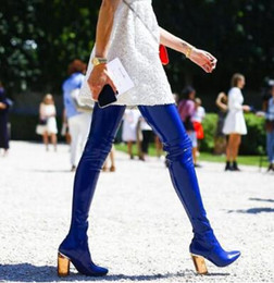 Super Thigh High Boots NZ - 2018 Super Hot Blue Patent Leather Women Sexy Thigh High Boots Pointy Toe Colorful Crystal Chunky Heel Knight Boot Over The Knee