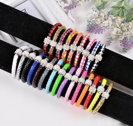 Multicolor disco ball online shopping - Fluorescent Neon Color PU Leather Bracelet with Crystal Shamballa Disco Ball Magnetic Clasp Bracelet the anti fatigue Bracelets Multicolor