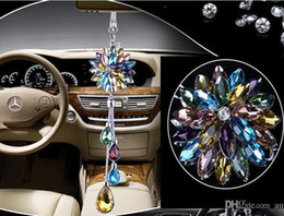 Chains For Mirrors Australia - 1pcs colored crystal flower Car auto truck motor vip Charms Chain for Rearview Mirror 28cm DIY