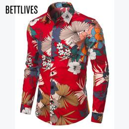 Discount men s red satin shirt - Bettlives 2017 Men Fashion Casual Long Sleeved Retro Floral Printed Shirt Slim Fit Male Shirt Brand Men Clothing Brand N