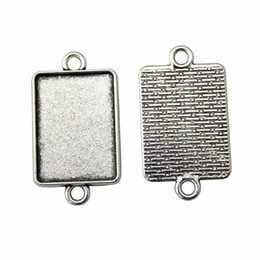 Wholesale Pendant Sets NZ - 16 Pieces Cabochon Cameo Base Tray Bezel Blank Jewelry Materials Classic Connector Inner Size 18x25mm Rectangle Necklace Pendant Setting