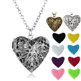 Discount long chain fashion lockets - Heart shaped Essential Oil Diffuser Necklaces vintage Hollow Floating Aromatherapy Locket pendant Long chain For women F
