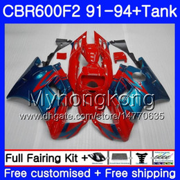 Honda Cbr F2 Red Fairings Australia - Body For HONDA CBR 600 F2 FS CBR600 F2 1991 1992 1993 1994 1MY.55 Red blue CBR600FS CBR 600F2 CBR600RR CBR600F2 91 92 93 94 Fairing kit