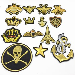Wholesale 14pcs Gold Mixed Crown Bee Star Skull Anchor patches for clothing iron on embroidered patch applique sewing accessories badge stickers cm