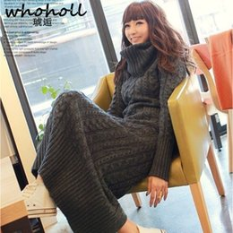 women big bottoms 2019 - 2018 autumn winter fashion women high collar slim sweater dress casual warm solid color big yards long bottoming knit gi